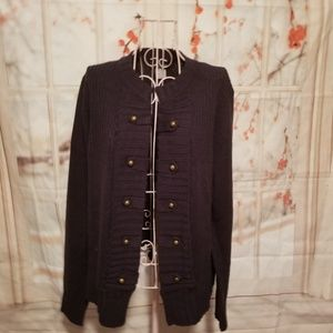 NWOT Venus Navy Open Sweater With Button Deco